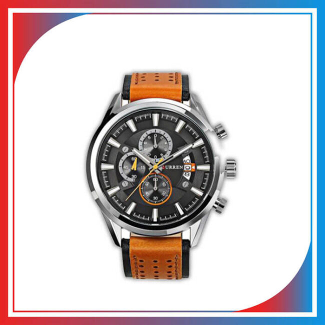 Men's Leather Curren Chronograph Wrist Watch