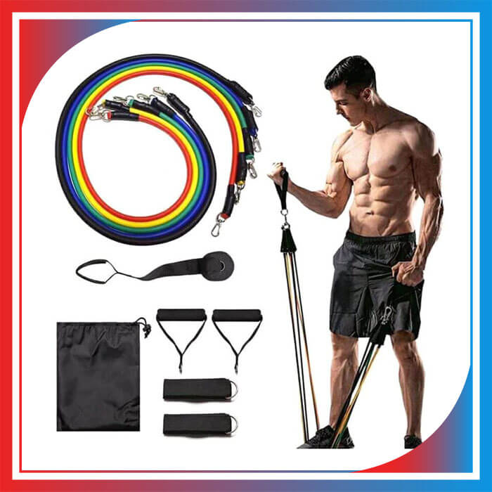 11 Pack Resistance Bands Set 5 Stackable Exercise Bands